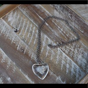 Jewelry - Crystal heart shaped pendant on silver chain